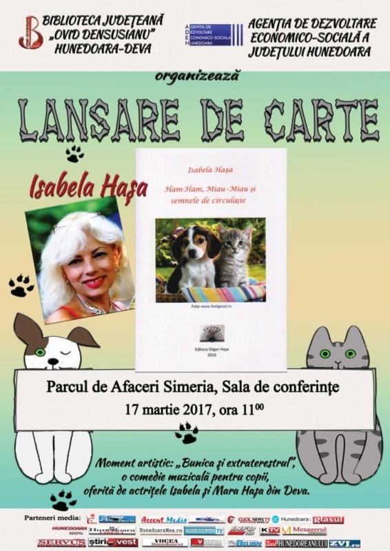 Afis lansare carte Isabela Hasa 2017