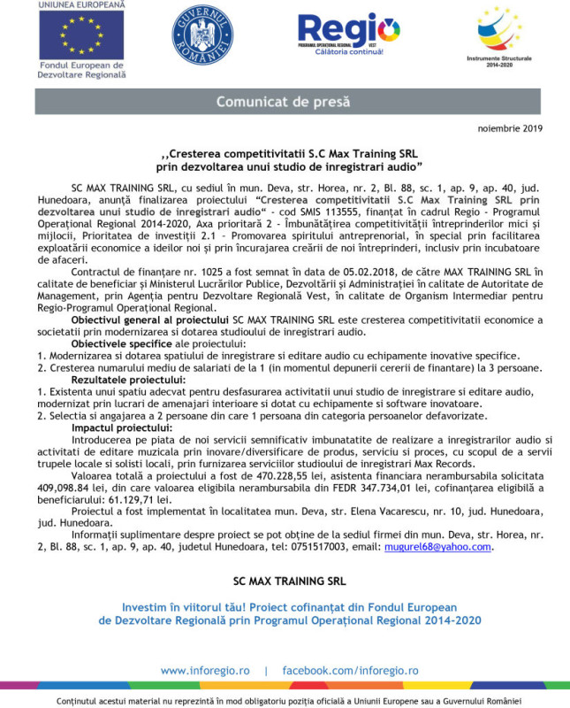 """SC BOMB FILM SRL anunta demararea activitatilor  proiectului """""""